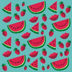 strawberry watermelon pattern