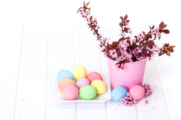 Easter arrangement with peach flowers
