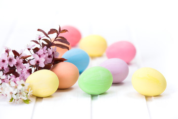 Easter eggs and peach flowers
