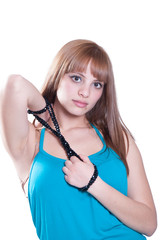 Blond teen with big black pearl necklace