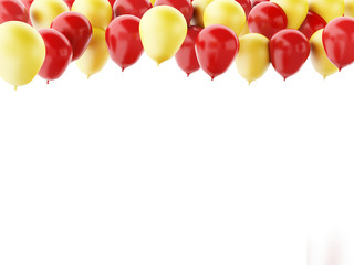Red and yellow balloons isolated on white background