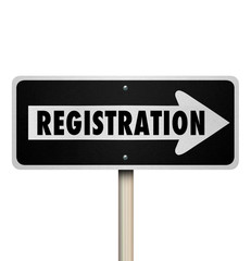 Registration One Way Road Street Sign Advertise Event Enrollment