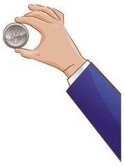 Hand holding a Japanese yen coin