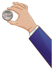 Hand holding a Euro coin