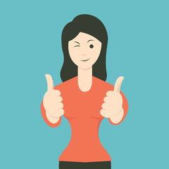 Woman thumb up