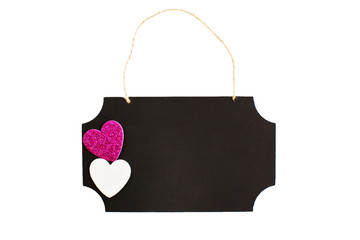 Chalkboard with twine hanger and glitter hearts