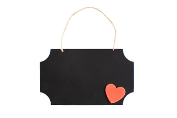 Chalkboard with red heart and twine hanger