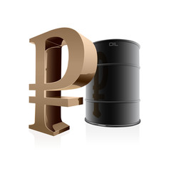 Oil barrel and ruble sign