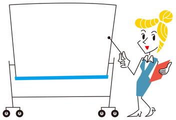ホワイトボードで説明する女性