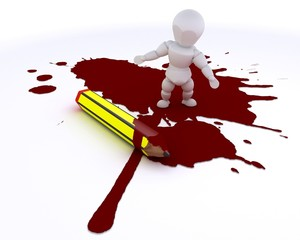 cartoonist man with pencil and blood