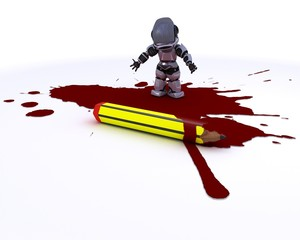 cartoonist robot with pencil and blood