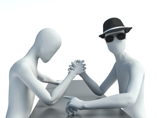 two 3d man doing arm wrestling