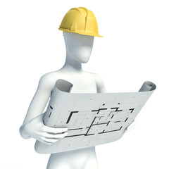 3D construction worker with helmet on white background