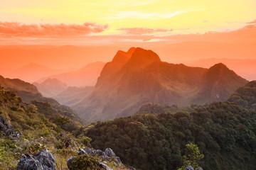 Sun set at the mountain range