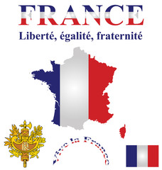 Flag and coat of arms of the French Republic