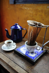 hand drip coffee in traditional way