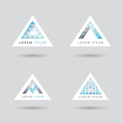 Set of logos with an arrow or triangle shaped logo