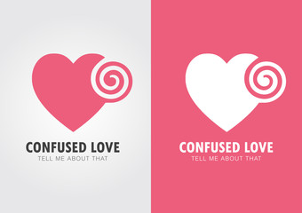 Confused Love. Heart and twirl.