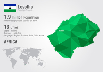 Lesotho world map with a pixel diamond texture.