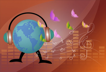 vector musical globe with speaker
