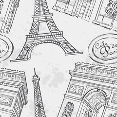 Seamless texture with the Eiffel Tower, a black outline