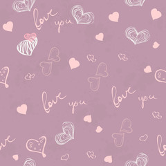 Seamless texture for Valentine's Day with hearts and inscription