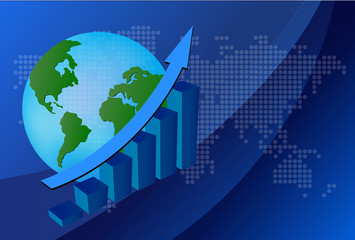Business graph with world background. Vector File also available