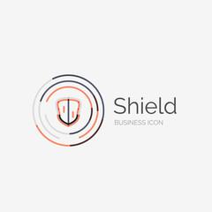 Thin line neat design logo, shield icon