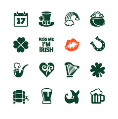 Saint Patrick's Day Icons collection with White Background