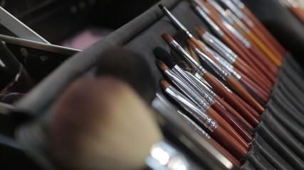 Make-up brushes on  table. Brush set for make-up