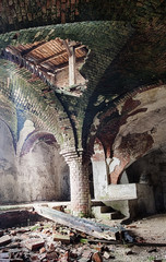 Deserted medieval church basement