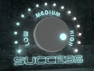success adjust between low and high. regulator with neon shine