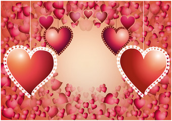 Valentine hearts over red hearts background