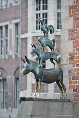 Animals musician copper statue in Bremen