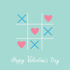 Tic tac toe  cross and three heart  Valentines day Blue Flat