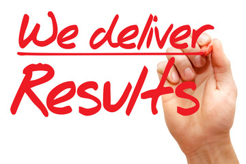 Hand writing We deliver Results with red marker