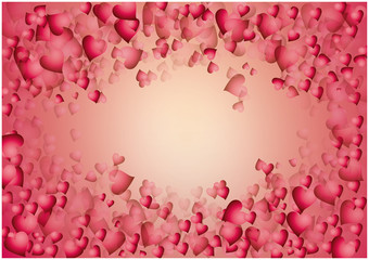 red hearts background over light pink background