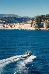 Pilot boat heading back to Nice harbour