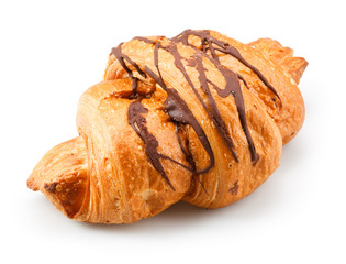Fresh croissant with chocolate on white background