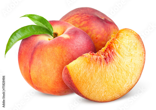 Peach. Fruit with slice isolated on white background © Tim UR