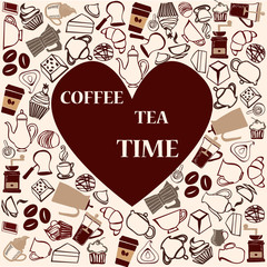 Cofffe and tea time  cute seamless pattern