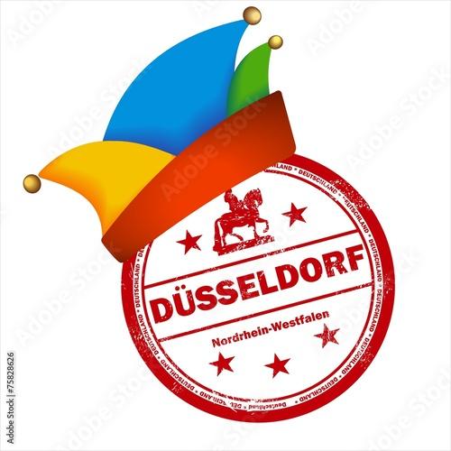 Karneval in Düsseldorf Helau Stempel Narrenkappe Fasching - 75828626