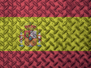 Spain flag on grunge wall