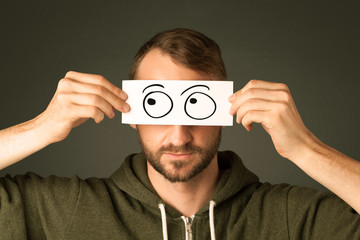 Silly man looking with hand drawn eye balls