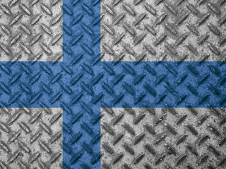 Finland flag on grunge wall