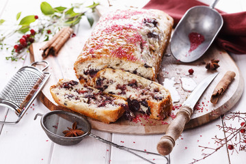 Cranberry loaf on a cutting board