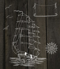 Wooden background with ship, wind rose and banner
