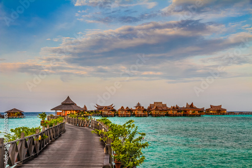 Water bungalows at Mabul Island - Borneo, Malaysia - 75830263
