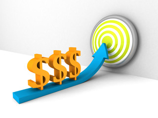 dollar currency symbols rising arrow to success target