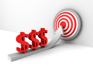 red dollar currency symbols rising arrow to success target